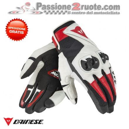 Guanti moto pelle Dainese Mig C2 Nero Bianco Rosso-Lava gloves