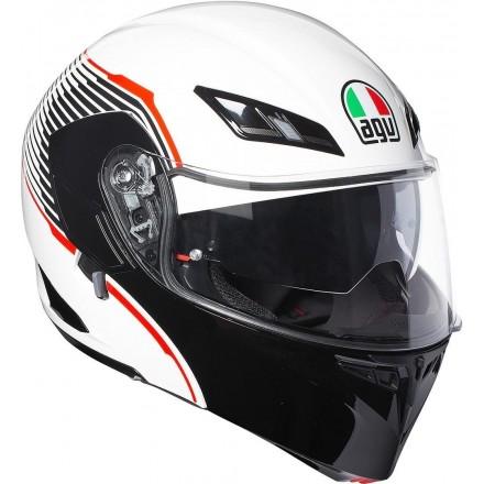 Casco modulare moto Agv Compact ST Vermont White black Red helmet
