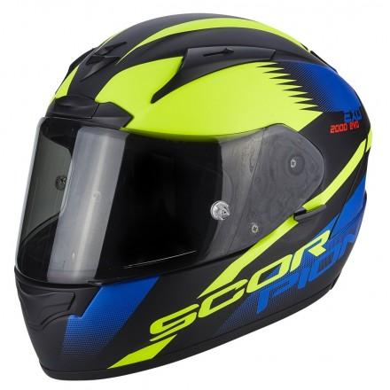 Casco integrale moto Scorpion Exo 2000 Evo Air Volcano nero blu giallo fluo helmet