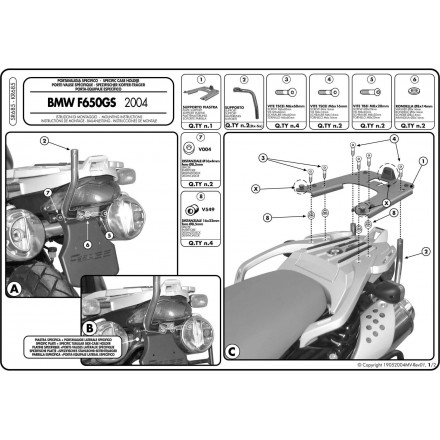 Attacco posteriore Givi Sr685 Bmw F650 Gs (04-07)