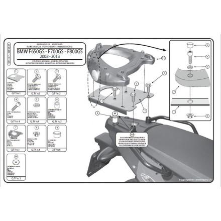 Attacco posteriore Givi Sr5107 Bmw F650 Gs / F800 Gs (08-14)