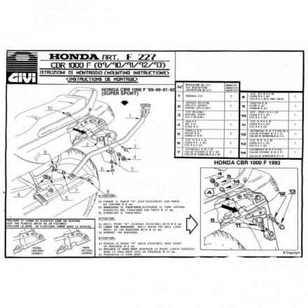 Attacco posteriore Givi 227F Honda CBR 1000 F (89-00)