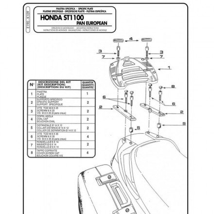 Attacco posteriore Givi E190 Honda ST 1100 Pan European