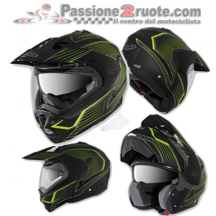 Casco moto modulare apribile Caberg Tourmax Sonic nero opaco giallo fluo matt black yellow flip up helmet casque
