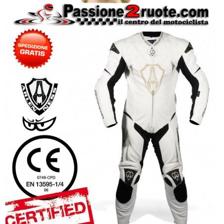 tuta intera pelle racing pista Arlen ness 9683 white leather suit