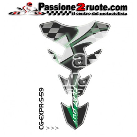 Paraserbatoio adesivo protezione serbatoio moto resinato para zip moto Print Kawasaki verde green CGEXS59P tank pad