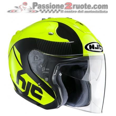 Casco Jet fibra visiera lunga e visierino da sole Hjc Fg-jet Acadia MC4 nero giallo fluo black yellow fiber helmet casque