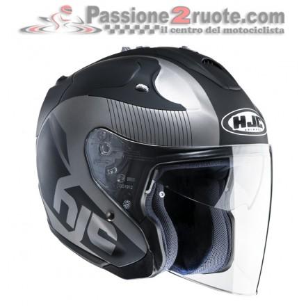 Casco Jet fibra visiera lunga e visierino da sole Hjc Fg-jet Acadia MC5f nero grigio black gunmetal fiber helmet casque