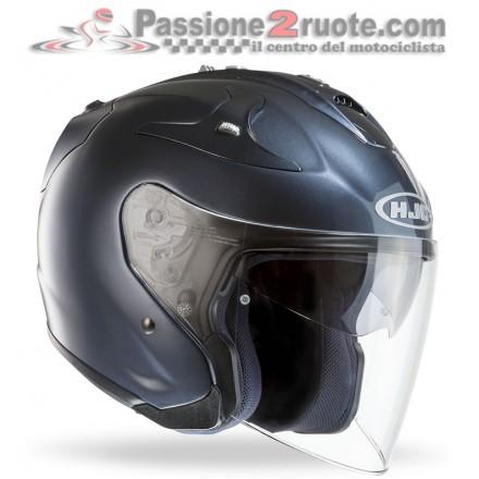 Casco Jet fibra visiera lunga e visierino da sole Hjc Fg-jet antracite lucido metal fiber helmet casque