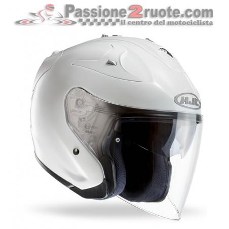 Casco Jet fibra visiera lunga e visierino da sole Hjc Fg-jet bianco perla white pearl fiber helmet casque