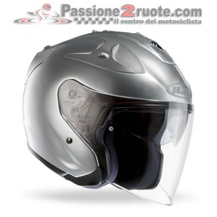 Casco Jet fibra visiera lunga e visierino da sole Hjc Fg-jet argento silver fiber helmet casque