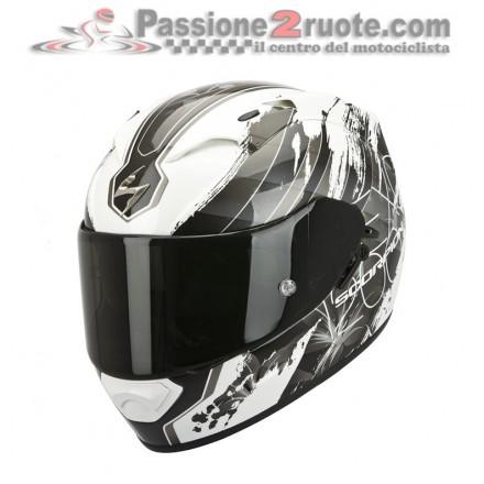 Casco integrale moto Scorpion Exo-1200 Air Lilium bianco camaleonte silver helmet casque