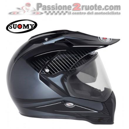 Casco enduro stradale touring adventure Suomy Mx Tourer nero antracite black helmet casque