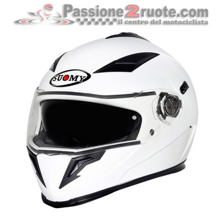 Casco integrale moto con visierino da sole interno Suomy Halo bianco white casque helmet