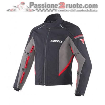 Giacca moto Dainese Rainsun D-Dry Nero Dark-Gull-Gray Rosso jacket