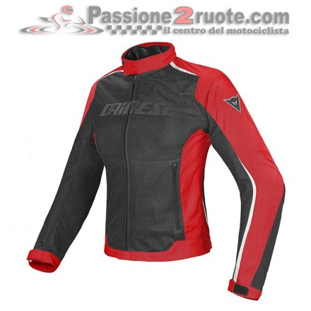 Giacca moto donna estiva traforata impermeabile Dainese Hydra Flux dry lady black red woman waterproof jacket