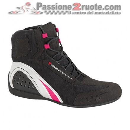 Scarpe moto donna impermeabili Dainese Motorshoe lady Wp Waterproof nero bianco black white fucsia shoes