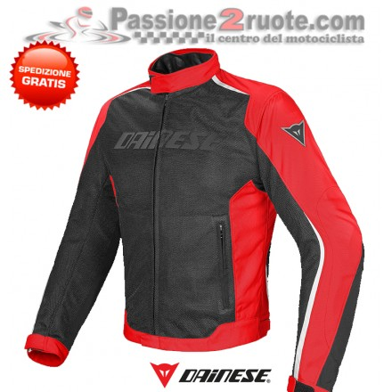 Giacca moto estiva Dainese Hydra Flux D-Dry Nero Rosso Bianco jacket