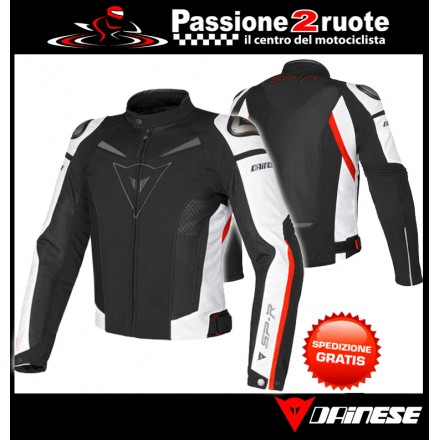 Giacca moto sportiva racing Dainese Super Speed Tex black white red jacket