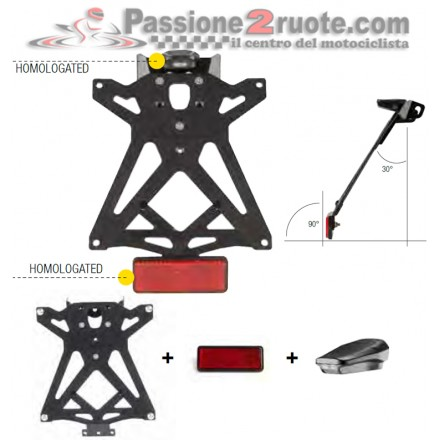 Kit Porta Targa regolabile Aprilia Dorsoduro 750 08-13 Lightech KTARAP103 adjustable license plate