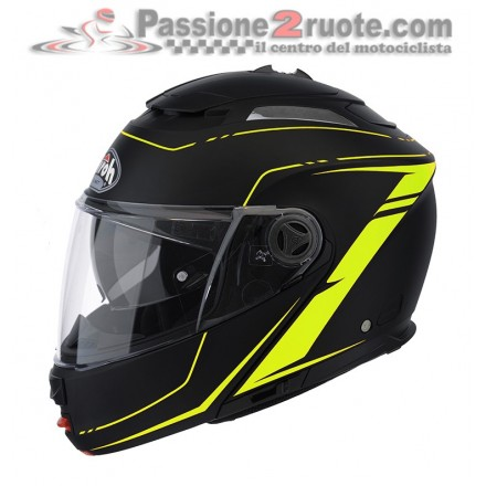 Casco Modulare Airoh Phantom Casco modulare apribile moto Airoh Phantom Lead nero giallo yellow flip-up helmet casquenero opaco