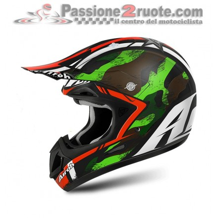 Casco moto cross enduro motarda Airoh Jumper Warrior verde green off road helmet casque
