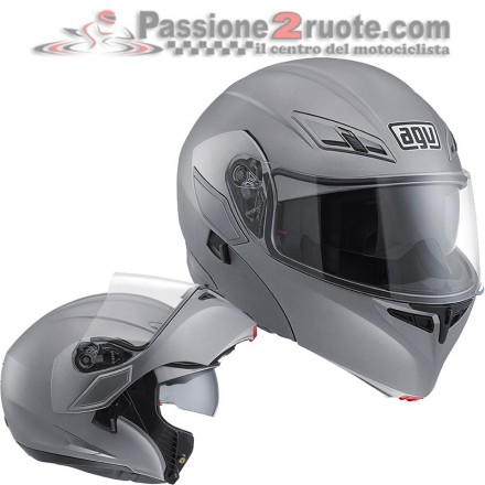 Casco modulare apribile moto Agv Compact matt grey flip up helmet