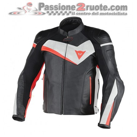 Giacca moto pelle Dainese Veloster nero bianco rosso black white red leather jacket