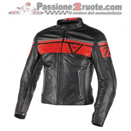 Giacca moto Dainese Blackjack Pelle Nero Rosso Smoke leather jacket