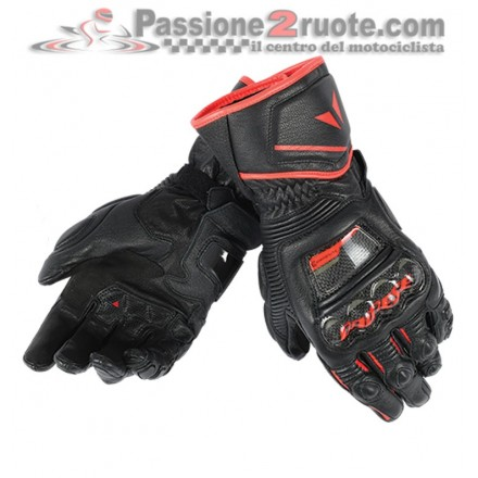 Guanti pelle lunghi moto racing pista corsa Dainese Druid D1 Long nero rosso Black red fluo leather gloves
