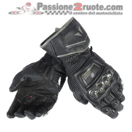 Guanti pelle lunghi moto racing pista corsa Dainese Druid D1 Long nero Black leather gloves