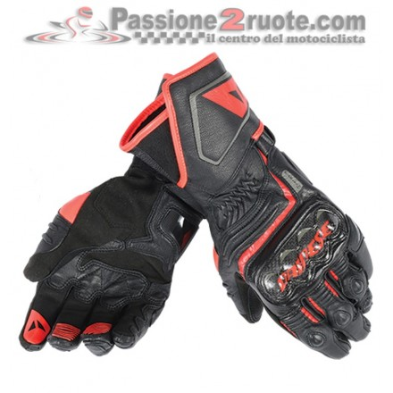 Guanti pelle lunghi moto racing pista corsa Dainese Carbon D1 Long nero rosso Black red fluo leather gloves