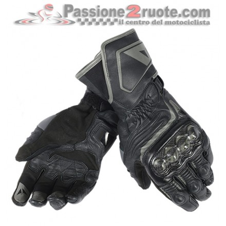 Guanti pelle lunghi moto racing pista corsa Dainese Carbon D1 Long nero Black leather gloves