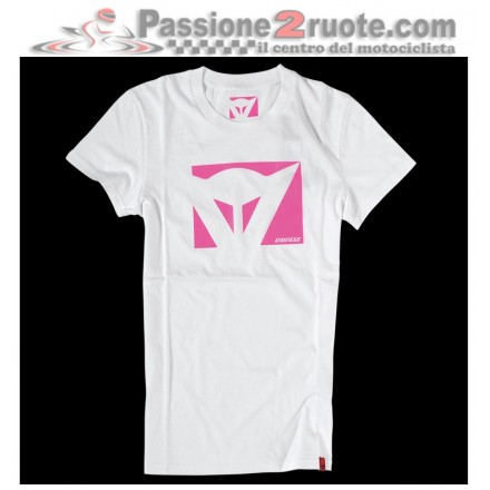 T-shirt donna Dainese Color New Lady Bianco Fucsia