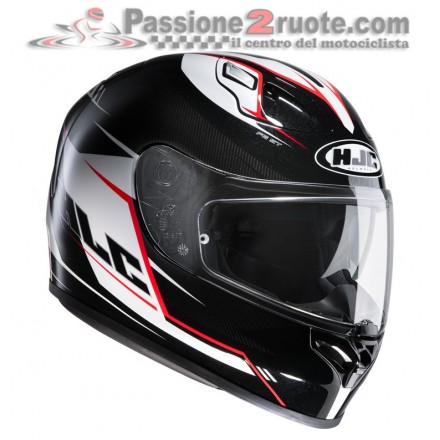 Casco integrale moto fibra doppia visiera Hjc Fg st Bolt nero bianco rosso black white red helmet casque