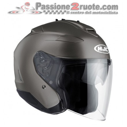 Casco Jet visiera lunga e visierino da sole Hjc Is-33 2 Titanium opaco matt helmet casque