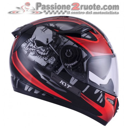 Casco integrale moto KYT Venom Strike Black Red Fluo helmet