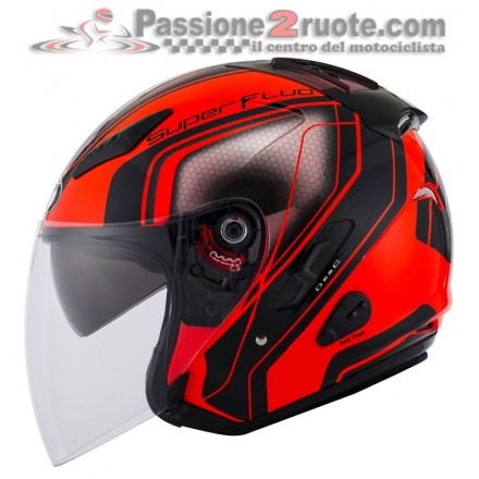 Casco jet moto scooter visiera lunga Kyt Hellcat Superfluo rosso red helmet casque