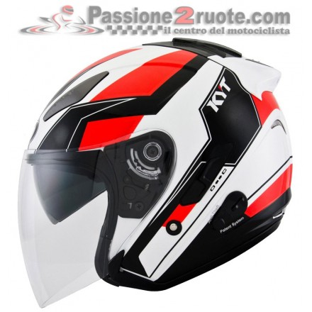 Casco jet moto scooter visiera lunga Kyt Hellcat Gx-s bianco rosso white red helmet casque