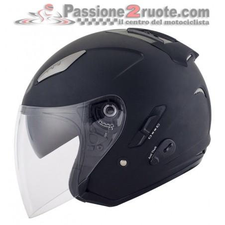 Casco jet visiera lunga e visierino parasole KYT Hellcat nero opaco matt black helmet casque