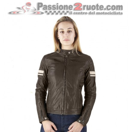 Giacca donna pelle moto vintage retro scrambler cafe racer Oj Mythos lady leather jacket