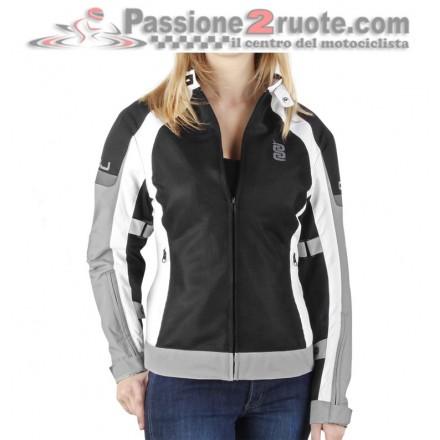 Giacca moto donna estiva traforata Oj Deep Lady White Grey Black summer perforated jacket