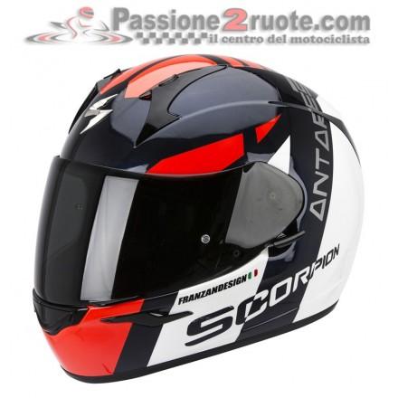 Casco integrale moto Scorpion Exo 410 Antares bianco nero rosso white black red helmet casque