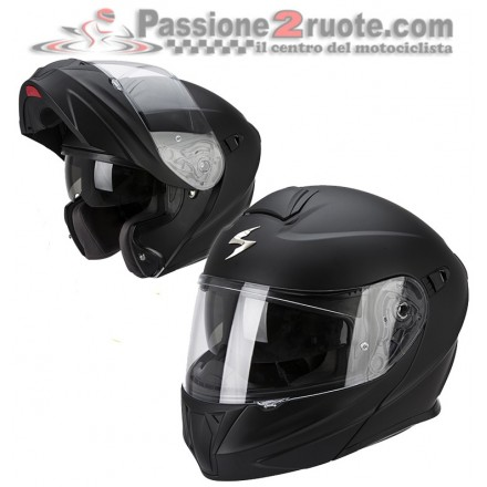 Casco modulare apribile moto Scorpion Exo 920 nero opaco mat black flip up helmet