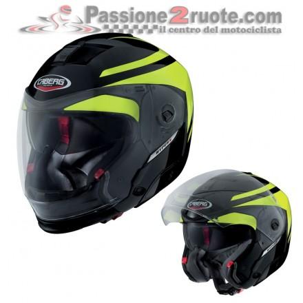 Casco modulare apribile moto Caberg Hyperx Duale Hi Vizion nero giallo helmet