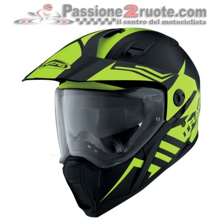 Casco integrale enduro strada adventure Caberg Xtrace Lux nero giallo fluo matt black yellow Helmet casque