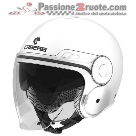 Casco jet moto scooter visiera lunga e occhiale parasole Caberg Uptown bianco white helmet casque