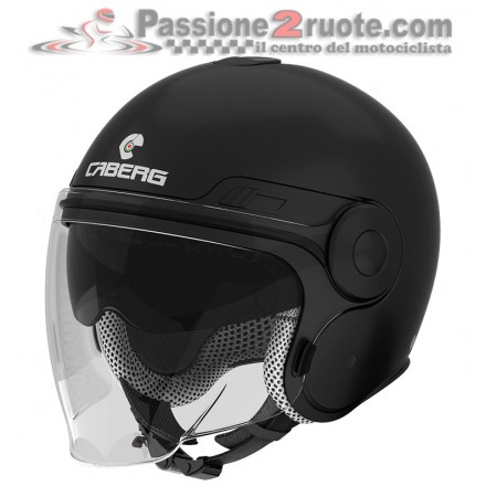 Casco jet moto scooter visiera lunga e occhiale parasole Caberg Uptown nero opaco matt black helmet casque
