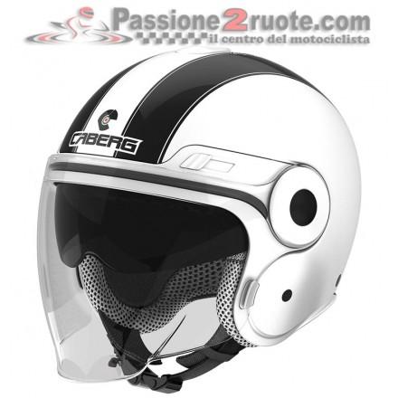 Casco jet moto scooter visiera lunga e occhiale parasole Caberg Uptown bianco nero white black helmet casque