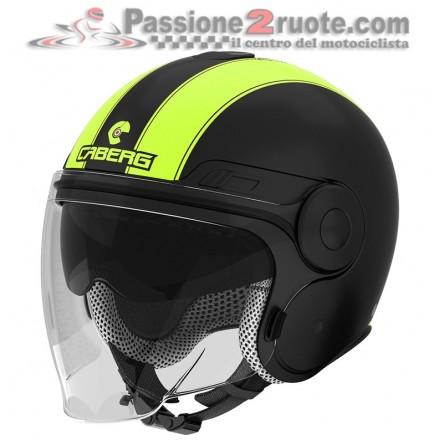 Casco jet moto scooter visiera lunga e occhiale parasole Caberg Uptown nero opaco bianco matt black white helmet casque